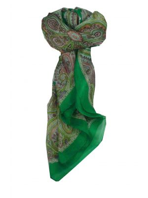 Mulberry Silk Traditional Square Scarf Aylin Emerald by Pashmina & Silk