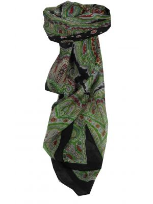 Mulberry Silk Traditional Square Scarf Aylin Black & Red by Pashmina & Silk