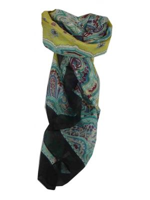 Mulberry Silk Traditional Square Scarf Aylin Black & Teal by Pashmina & Silk