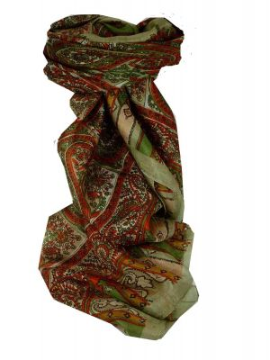 Mulberry Silk Traditional Square Scarf Aimee Grey & Green by Pashmina & Silk
