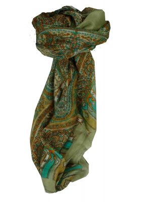 Mulberry Silk Traditional Square Scarf Aimee Grey & Aquamarine by Pashmina & Silk