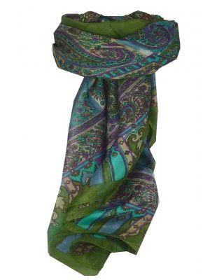 Mulberry Silk Traditional Square Scarf Aimee Sage by Pashmina & Silk