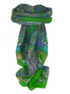 Mulberry Silk Traditional Square Scarf Aimee Lime by Pashmina & Silk