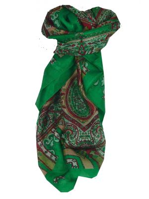 Mulberry Silk Traditional Square Scarf Aimee Green by Pashmina & Silk