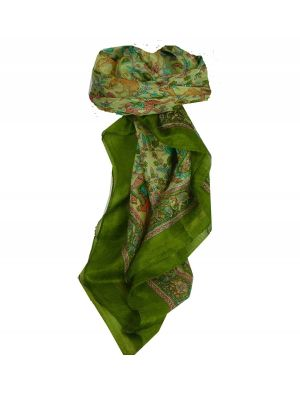 Mulberry Silk Traditional Square Scarf Abhan Sage by Pashmina & Silk