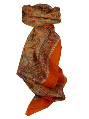 Mulberry Silk Traditional Square Scarf Abhan Terracotta by Pashmina & Silk