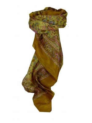 Mulberry Silk Traditional Square Scarf Abhan Caramel by Pashmina & Silk
