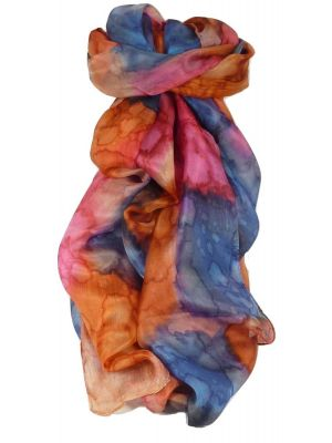 Mulberry Silk Hand Painted Long Scarf Classic Iris by Pashmina & Silk