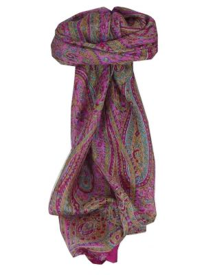 Mulberry Silk Traditional Square Scarf Mithi Cerise by Pashmina & Silk