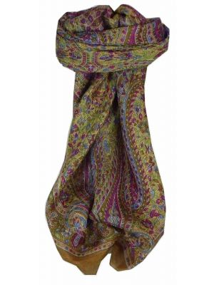 Mulberry Silk Traditional Square Scarf Mithi Caramel by Pashmina & Silk
