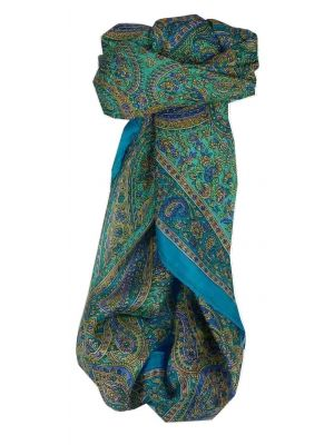 Mulberry Silk Traditional Square Scarf Mithi Aquamarine by Pashmina & Silk