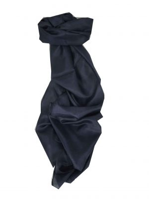 Mulberry Silk Hand Dyed Long Scarf Dark Blue from Pashmina & Silk