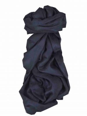 Finest Cashmere Damask Weave Ring Stole in Very Dark Blue by Pashmina & Silk