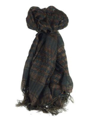 Keffiyeh Arab Grid Scarf Black & Brown by Pashmina & Silk