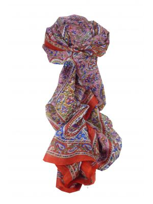 Mulberry Silk Traditional Long Scarf Riya Red by Pashmina & Silk