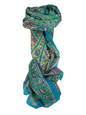 Mulberry Silk Traditional Long Scarf Riya Aquamarine by Pashmina & Silk