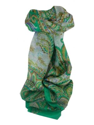 Mulberry Silk Traditional Long Scarf Safia Green by Pashmina & Silk