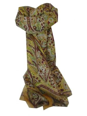 Mulberry Silk Traditional Long Scarf Sara Gold by Pashmina & Silk