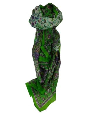 Mulberry Silk Traditional Long Scarf Sarika Lime by Pashmina & Silk