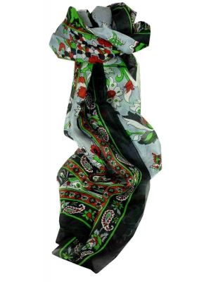 Mulberry Silk Traditional Long Scarf Ree Black by Pashmina & Silk