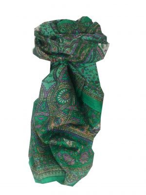 Mulberry Silk Traditional Long Scarf Reena Green by Pashmina & Silk