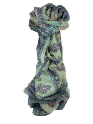 Mulberry Silk Traditional Long Scarf Rei Grey by Pashmina & Silk