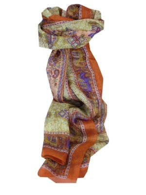 Mulberry Silk Traditional Long Scarf Rei Tangerine & Purple by Pashmina & Silk