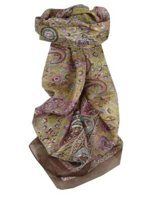 Mulberry Silk Traditional Long Scarf Kirin Brown by Pashmina & Silk