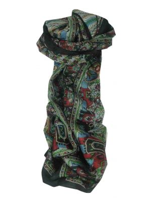 Mulberry Silk Traditional Long Scarf Kolva Black by Pashmina & Silk