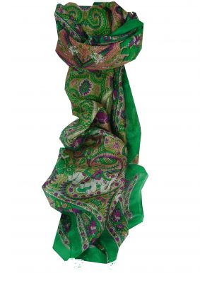 Mulberry Silk Traditional Long Scarf Kot Green by Pashmina & Silk