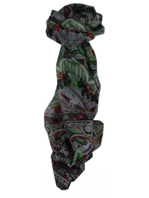 Mulberry Silk Traditional Long Scarf Kot Black by Pashmina & Silk