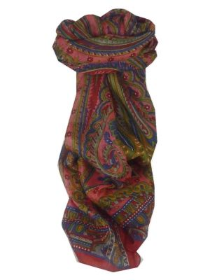 Mulberry Silk Traditional Long Scarf Kullu Red by Pashmina & Silk