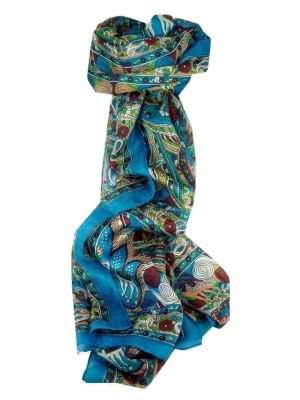Mulberry Silk Traditional Long Scarf Lina Aquamarine by Pashmina & Silk