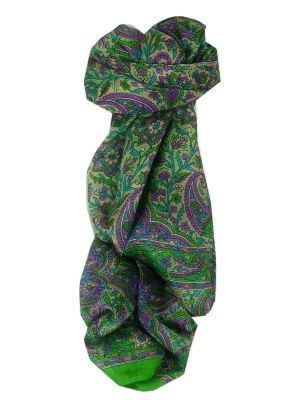 Mulberry Silk Traditional Long Scarf Kera Lime by Pashmina & Silk