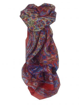 Mulberry Silk Traditional Long Scarf Kera Red by Pashmina & Silk
