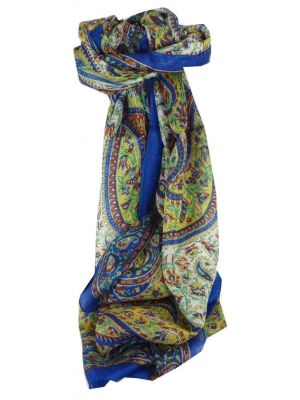 Mulberry Silk Traditional Long Scarf Kaaj Blue by Pashmina & Silk