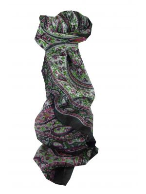 Mulberry Silk Traditional Long Scarf Kaaj Black by Pashmina & Silk