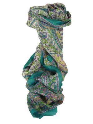 Mulberry Silk Traditional Long Scarf Kaaj Teal by Pashmina & Silk