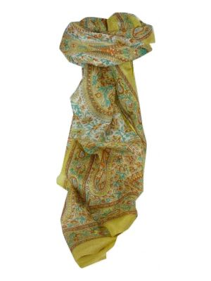 Mulberry Silk Traditional Long Scarf Kaaj Gold by Pashmina & Silk