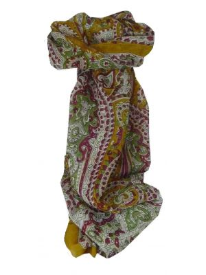 Mulberry Silk Traditional Long Scarf Kannur Gold by Pashmina & Silk