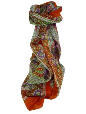 Mulberry Silk Traditional Long Scarf Kaur Terracotta by Pashmina & Silk