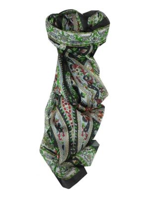 Mulberry Silk Traditional Long Scarf Giani Black by Pashmina & Silk