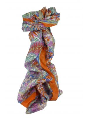 Mulberry Silk Traditional Long Scarf Dor Tangerine by Pashmina & Silk