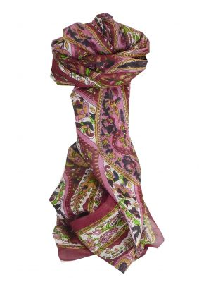 Mulberry Silk Traditional Long Scarf Yola Wine by Pashmina & Silk