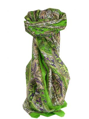 Mulberry Silk Traditional Long Scarf Yola Citron Vert by Pashmina & Silk