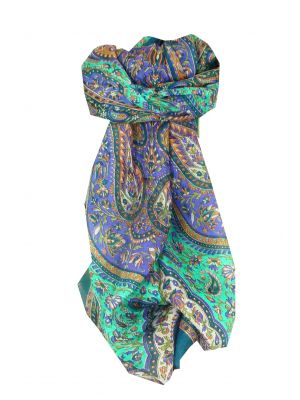 Mulberry Silk Traditional Long Scarf Tunga Teal by Pashmina & Silk