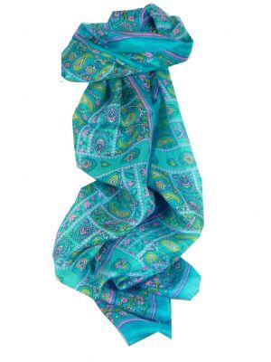 Mulberry Silk Traditional Long Scarf Chenab Aquamarine by Pashmina & Silk
