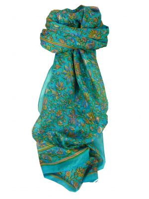 Mulberry Silk Traditional Long Scarf Wagh Aquamarine by Pashmina & Silk