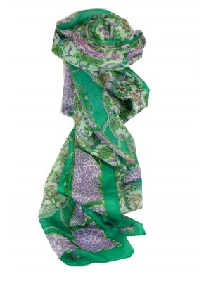 Mulberry Silk Traditional Long Scarf Bijul Green by Pashmina & Silk