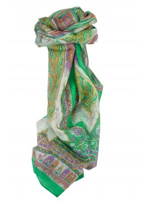 Mulberry Silk Traditional Long Scarf Biri Green & Pink by Pashmina & Silk